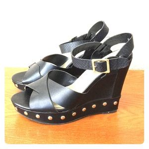 Sbicca black platform wedges with gold stu…